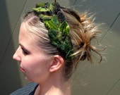 Velvet Laurel Wreath - Leaf & Faux Leather Headband