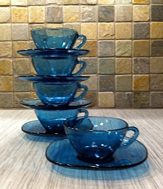 Mid Century - Vereco France Smoky Blue Cups and Saucers (set of 5)
