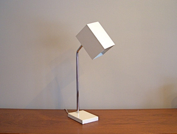 Mid Century Modern - White Cube Portable Lamp by Robert Sonneman for George Kovacs