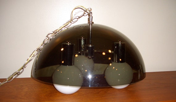 Mid Century - Black Lucite Chrome Dome Hanging Light