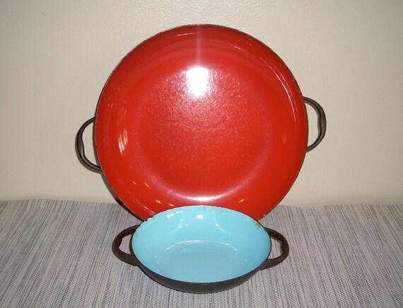 Mid Century - Enamel Skillet Pans