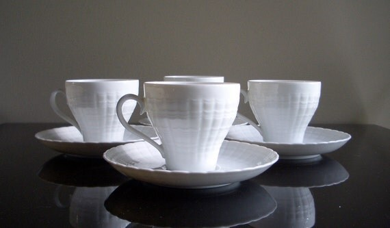 Hutschenreuther White Cups and Saucers (set of 4)