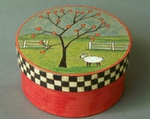 Sheep Lamb Hand Painted Box - Heart Tree - One of a Kind