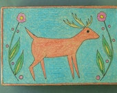 Deer Decorative Box - Hand Drawn - One of a Kind