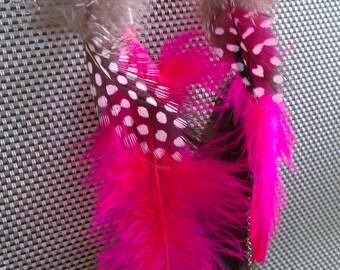 Feather Earrings, Neon Pink Earrings, Feather Earrings, Statement Earrings, Silver Earrings, Chain Earrings, Crystal Earrings, Barbie, Sale