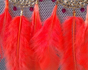 Feather Earrings, Chandelier Earring, Summer Jewelry, Boho Chic, Statement Earrings, Fashion, Tribal Earrings, Gold Earrings,  Neon Orange