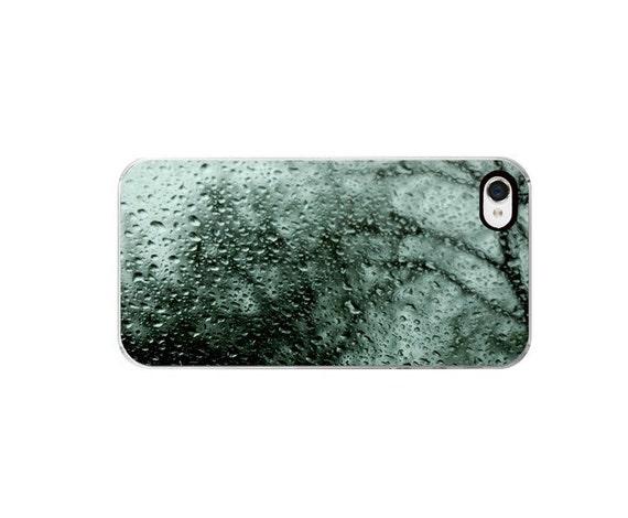 Iphone 4 Case- Iphone 4s case, rain drops, gloomy, blue green, window, winter, tree, custom iphone case