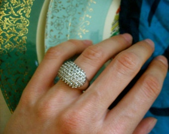 Cubic zirconia and sterling silver ring