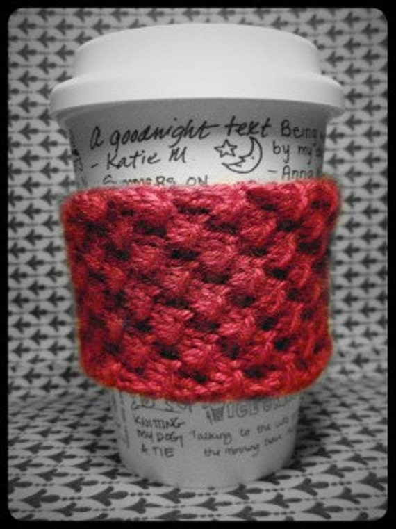 Free Knitting Pattern Coffee Cup Sleeve : Items similar to Reusable knotted coffee cup cozy sleeve - knit - PDF Pattern...