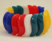 Vintage Avon Chunky Multi-Colored Swirl Stretch Bracelet