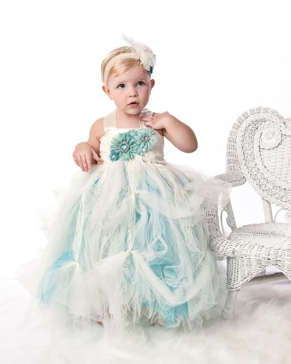 Tutu Dress, Baby tutu dress. Victorian Chic aqua cream ballroom tutu gown. On Sale