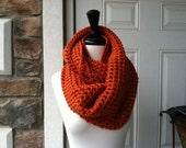 Crochet Circle Infinity Scarf  - TERRACOTTA