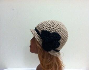 SALE Crochet Cloche Flapper Hat - TAUPE / BLACK
