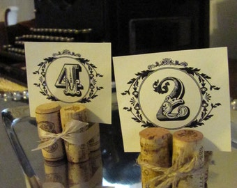 Wine Cork Place Card Table Number and Name Holders,  Set of 10 with Twine Bows