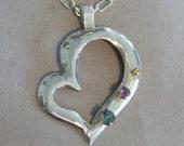 Heart Pendant with 3 Gemstones