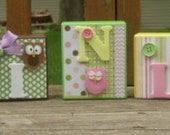 Personalized Blocks-Owls-Girls-Pastel Colors