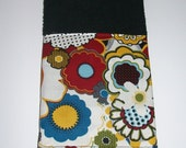 Bathroom Hand Towel-Flowers and Polka Dots-Red' Yellow' Black' White