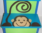 Monkey Stepstool-Green and Blue with Storage Compartment-Girls or Boys-Customizations Welcomed