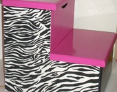 Girls Hot Pink and Zebra Stepstool with Compartment and Name Personalization