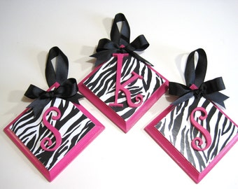 Girls Hot Pink and  Zebra Bookends with Letter Personalization-Custom Changes Welcomed