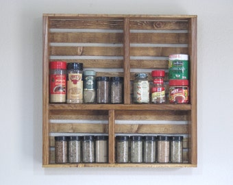 Spice Organizer For Kitchen   Wooden Spice Rack  Spice Rack For Wall   Spice  Shelf