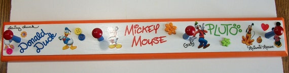 Coat Hook Plaque Disney Mickey Mouse Minnie Donald Duck
