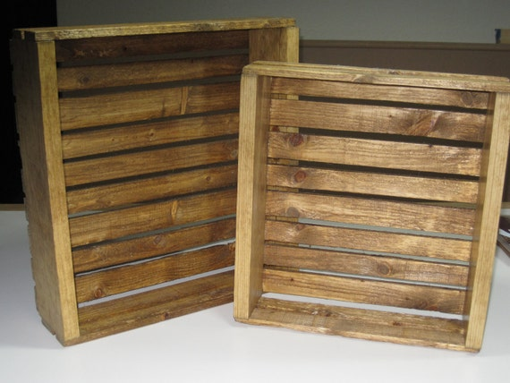 Wooden crates decorative crates set of two early - Decorative wooden crates ...