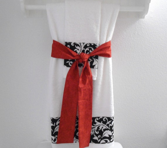 Unavailable listing on etsy for Red black and white bathroom decor