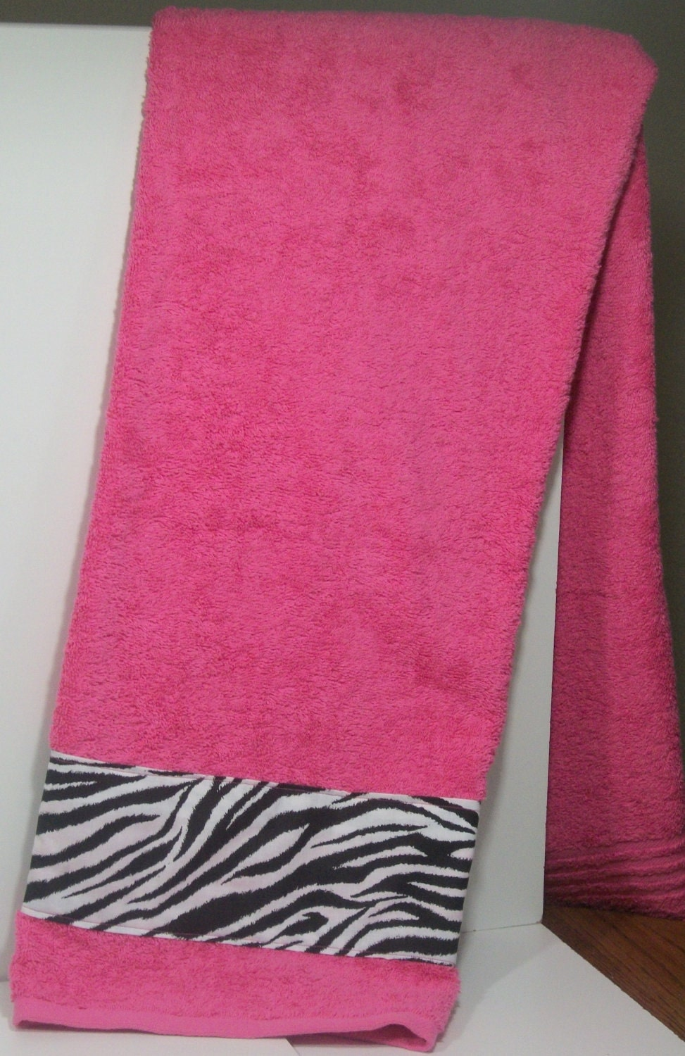 Bath Towel Hot Pink And Zebra