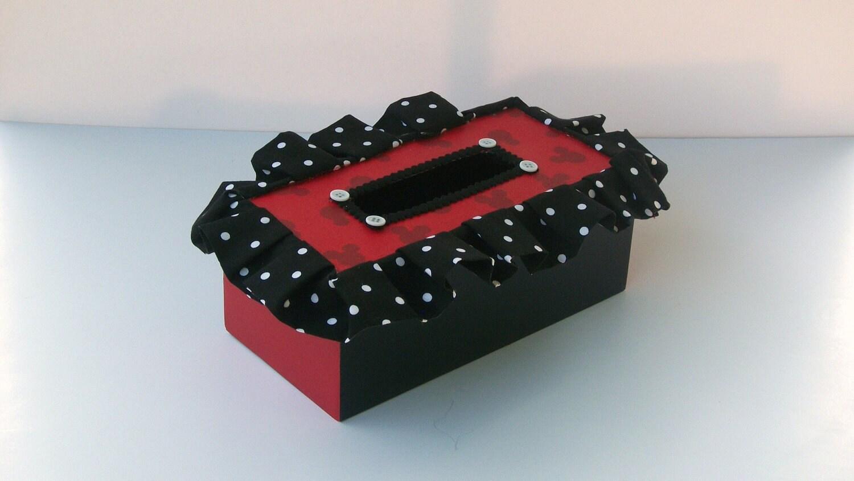 Tissue Box Holder Mickey Mouse Red Black White Polka Dots