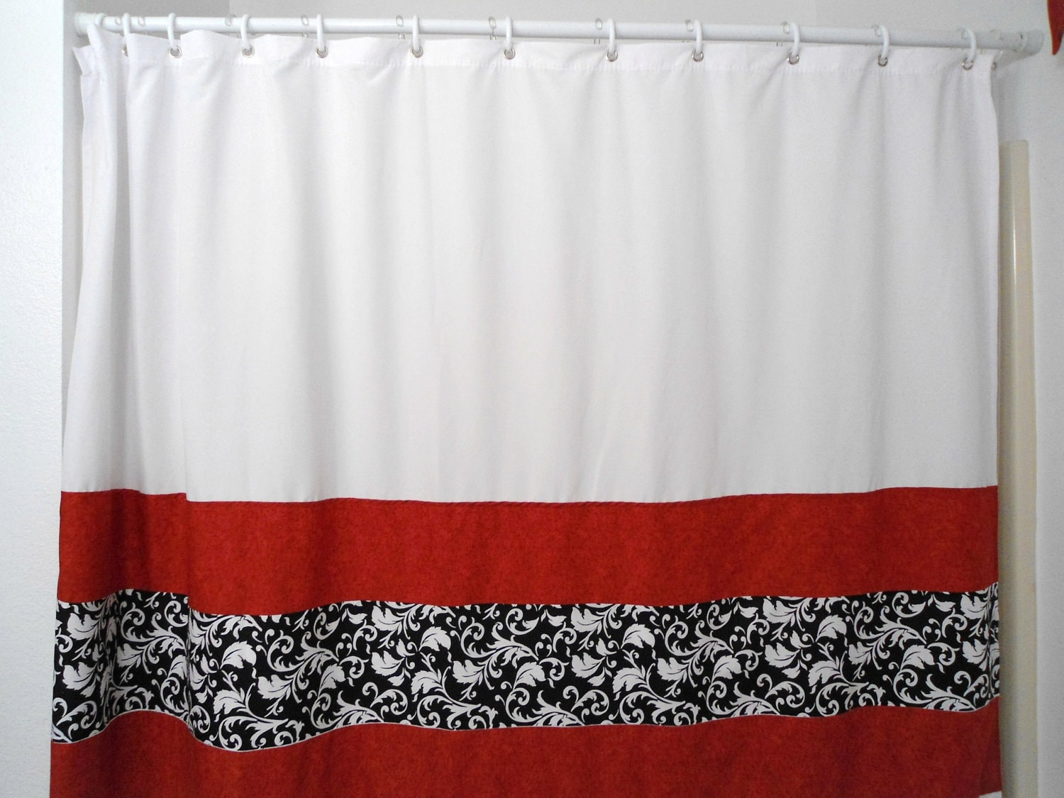 Shower CurtainWhite with Black and White Damask and by DREAMATHEME