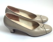 Vintage Leather Heels, Taupe Grey Wrapped-Toe, Size US 7 / EU 37-38