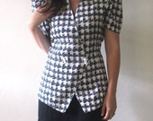 Vintage Houndstooth 80s Double-Breasted Ladies Blouse, Short-Sleeved Top, Black and White, Size XS-S.
