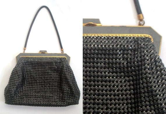 Vintage Metal Mesh, Glomesh Handbag, 'Oroton' Brand, Black Womens Evening Clutch, Large Purse, 70s.