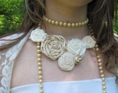 Silk and Lace Rosette Bib Necklace - Ready to Ship