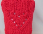 Red Hand Knit Coffee Cup Sleeve with two Hearts. Great gift for a someone special. Father's Day .Valentines Day Gift