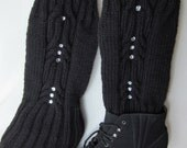 Hand-knitted Black Legwarmers / Knit boots cover with Beautiful Ornament and Crystals