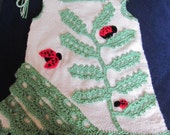 Handmade Girl Crochet/knitted  Dress With Ladybugs