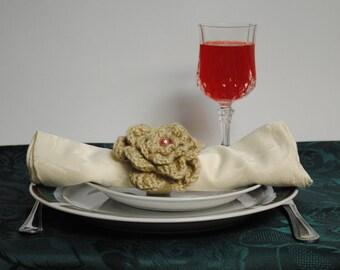 SALE. Crocheted Napkin Rings, Set of 4