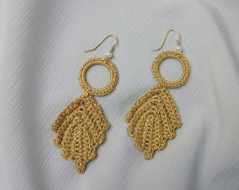 Romantic Crochet Leaf Earrings