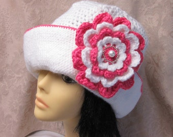 White Crochet Hat with Beautiful Flower