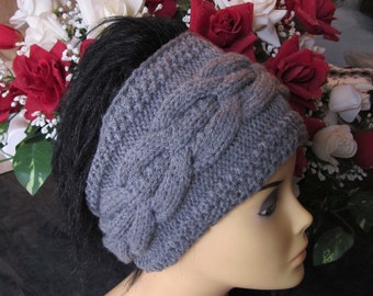 Hand Knitted Grey Head Band with Beautiful Ornament