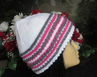 White Hat with Soft Pink and Grey Heather Stripes decorated with Pearl Beads