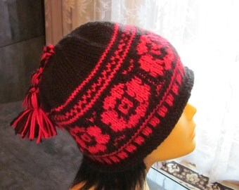Hand-knitted Black Hat with Red  Beautiful Norwegian Ornament and two pom poms