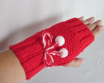 Hand-knitted Red Fingerless Gloves Mittens Arm Warmers with Beautiful Ornament and romantic decoration with small White pom poms.