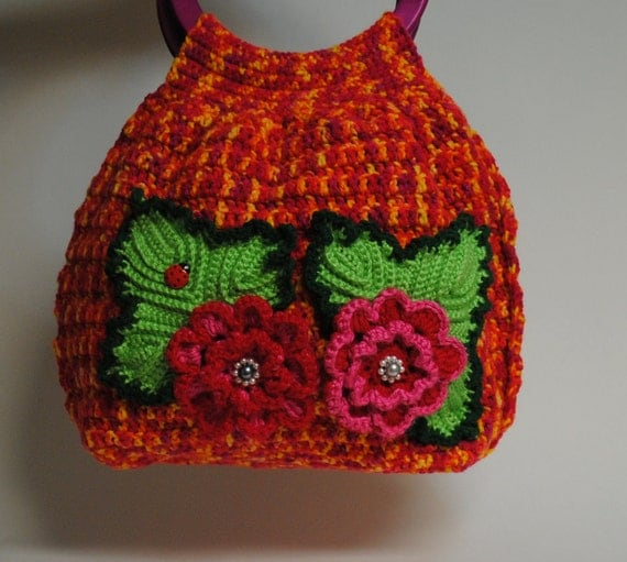 Colorful Crochet Handbag With Beautiful Flowers / Special offer 20% off and FREE Shipping. Valentines Day Gift