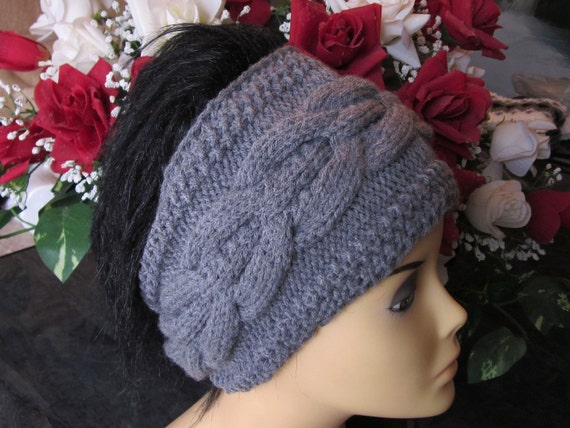 Hand Knitted Head Band with Beautiful Ornament