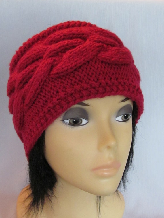 Hand Knitted Red Head Band with Beautiful Ornament