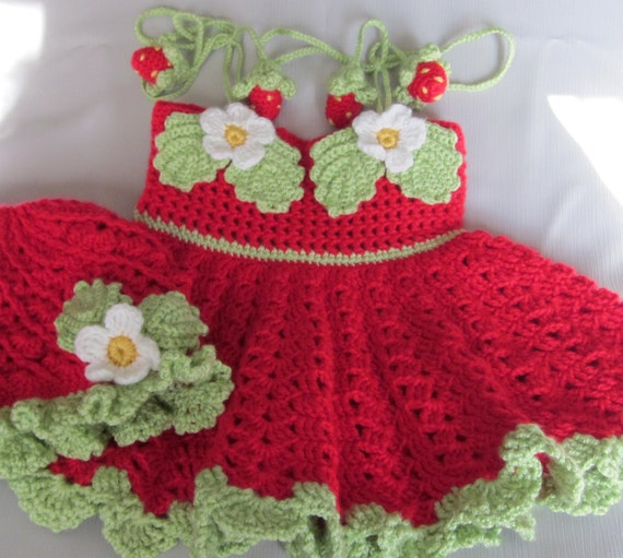 Handmade Girl Crochet Dress and Hat Set With strawberry decoration