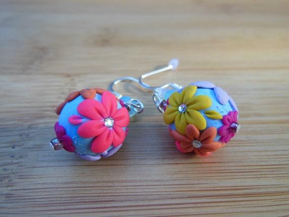 Multicolor Flower Bead Earrings
